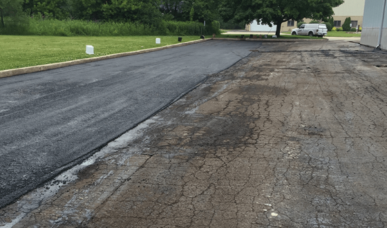 new asphalt next to old asphalt