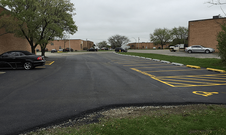 parking lot with new asphalt and lines