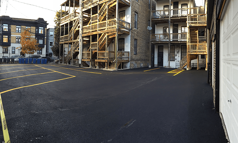apartment parking lot asphalt overlay
