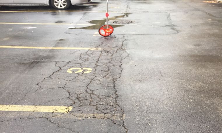 measuring parking lot cracks