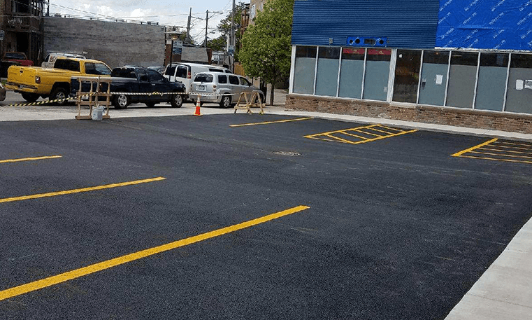 parking lot with new asphalt and striping