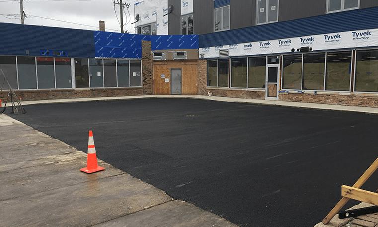 parking lot with new asphalt