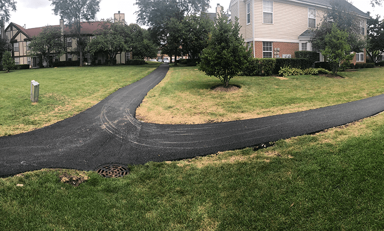 asphalt path in neighborhood
