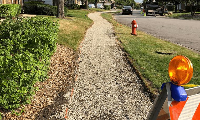 gravel sidewalk