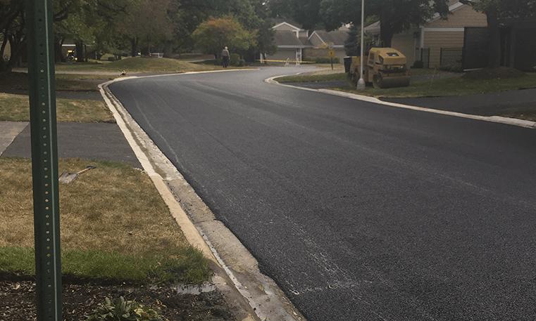 paved street in neighborhood
