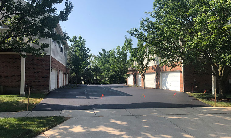 driveway in front of townhomes