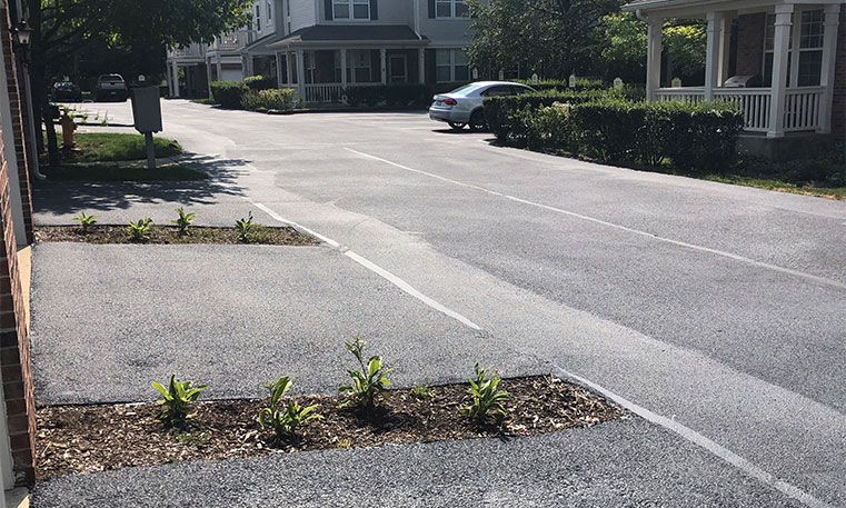 parking space in front of townhomes