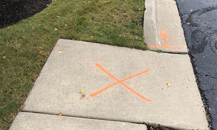 sidewalk during asphalt replacement