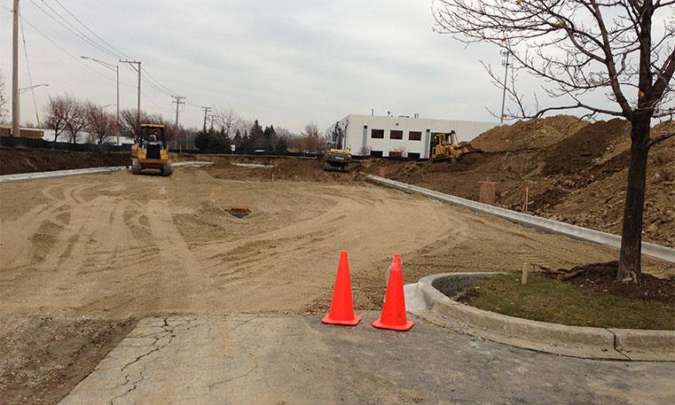 empty parking lot at construction site