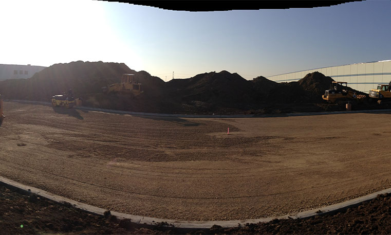 unpaved lot at construction site