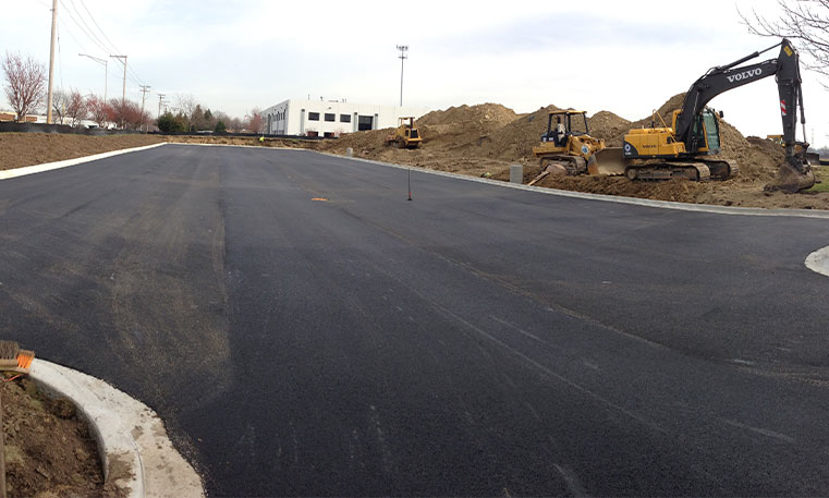 finished asphalt at construction site