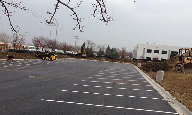 finished asphalt parking lot