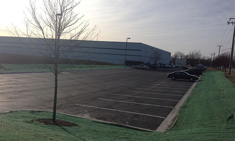 finished asphalt parking lot