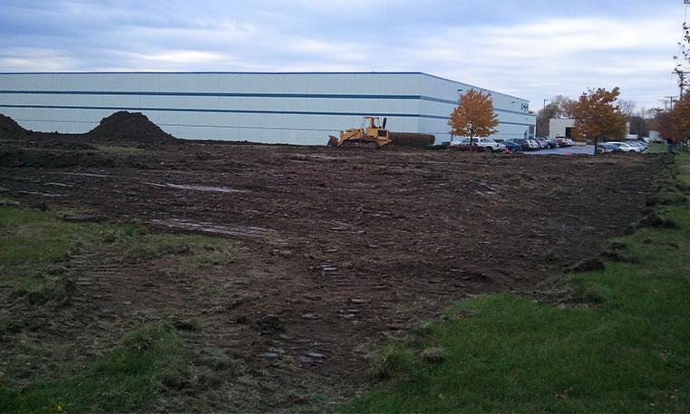 dug up parking lot during construction