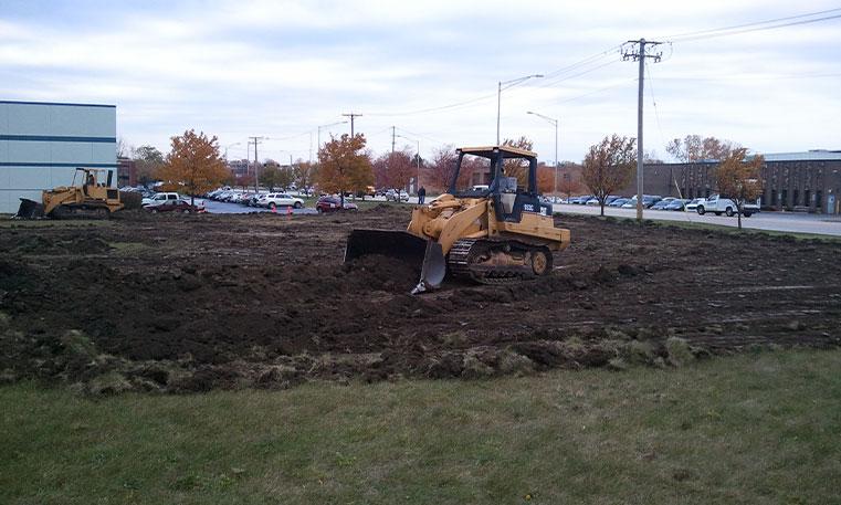 bulldozer during construction process
