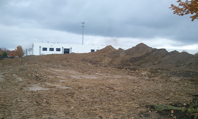 lot with gravel during construction process