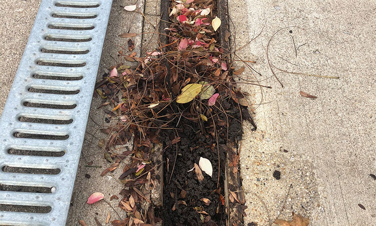 clogged drain outside of home
