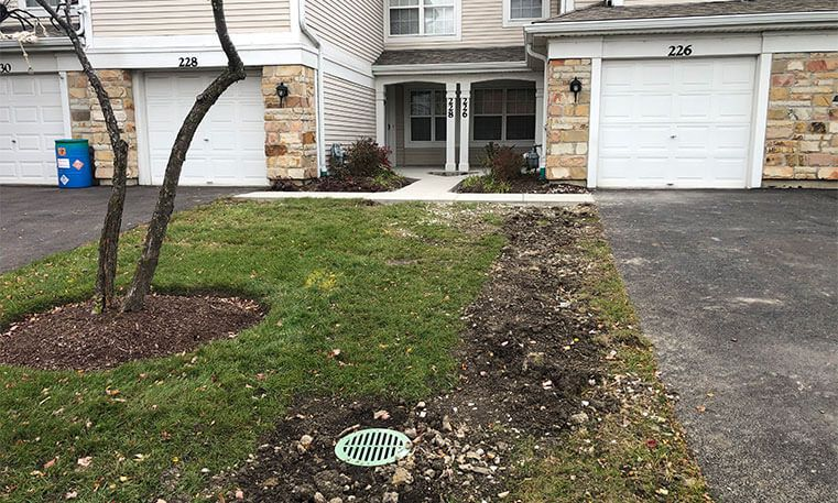 front yard of home after sidewalk and stoop replacement