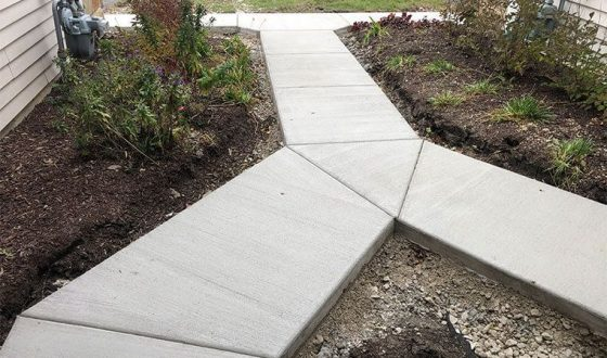 renovated sidewalk in front of home