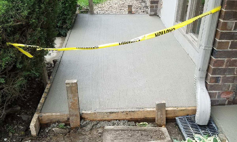 patio concrete after replacement