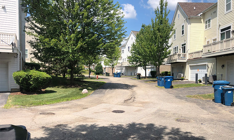 townhome street prior to asphalt replacement