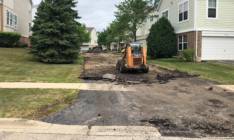 townhome driveway during replacement