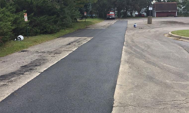 finished asphalt patching in parking lot