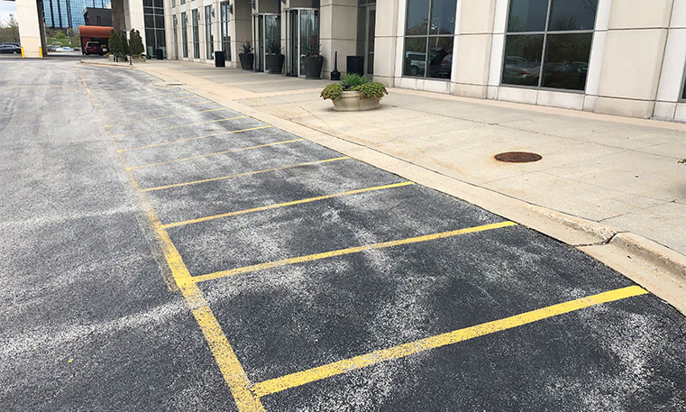 the westin hotel parking lot undergoing sealcoating process
