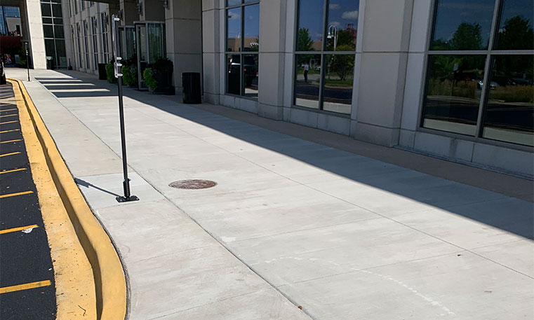 finished side walk in front of the westin hotel