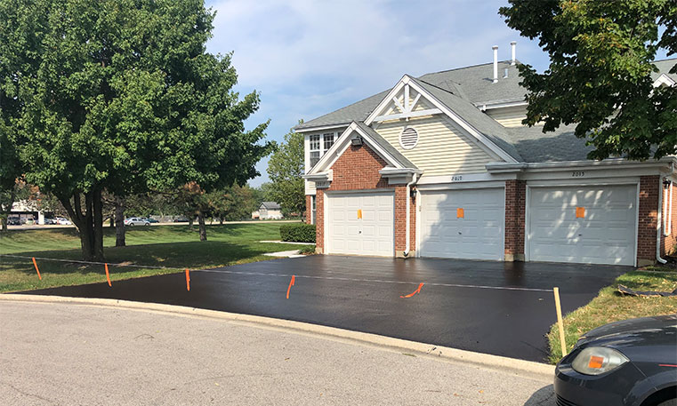 recently sealcoated home driveway